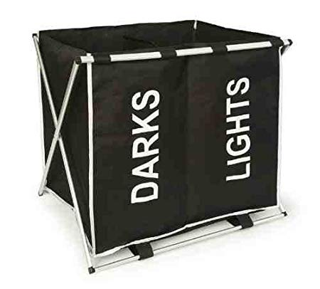 Lightweight Aluminum Folding Double Laundry Hamper For Darks & Lights
