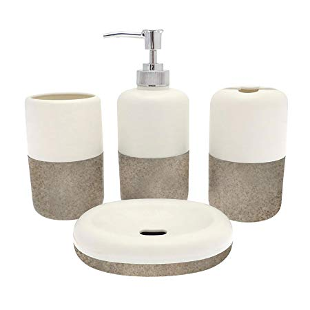 Just Contempo Essential Bathroom Accessory Set-4 Pieces-White