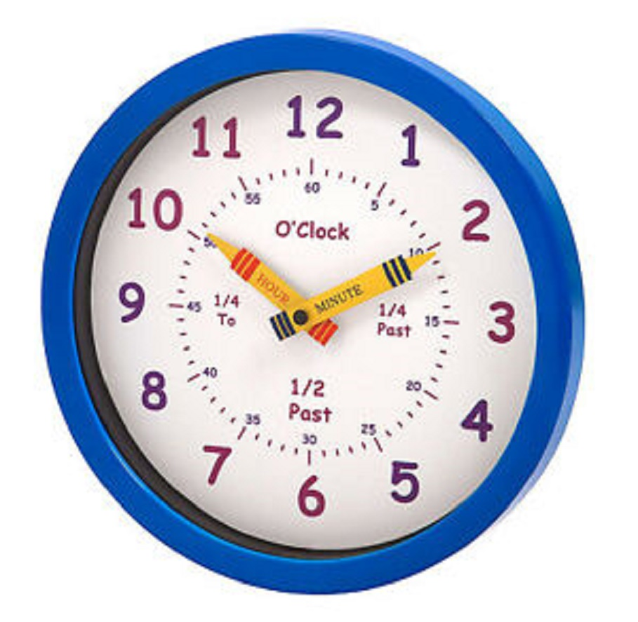 Unity Learn The Time Children's Wall Clock Blue 25cm