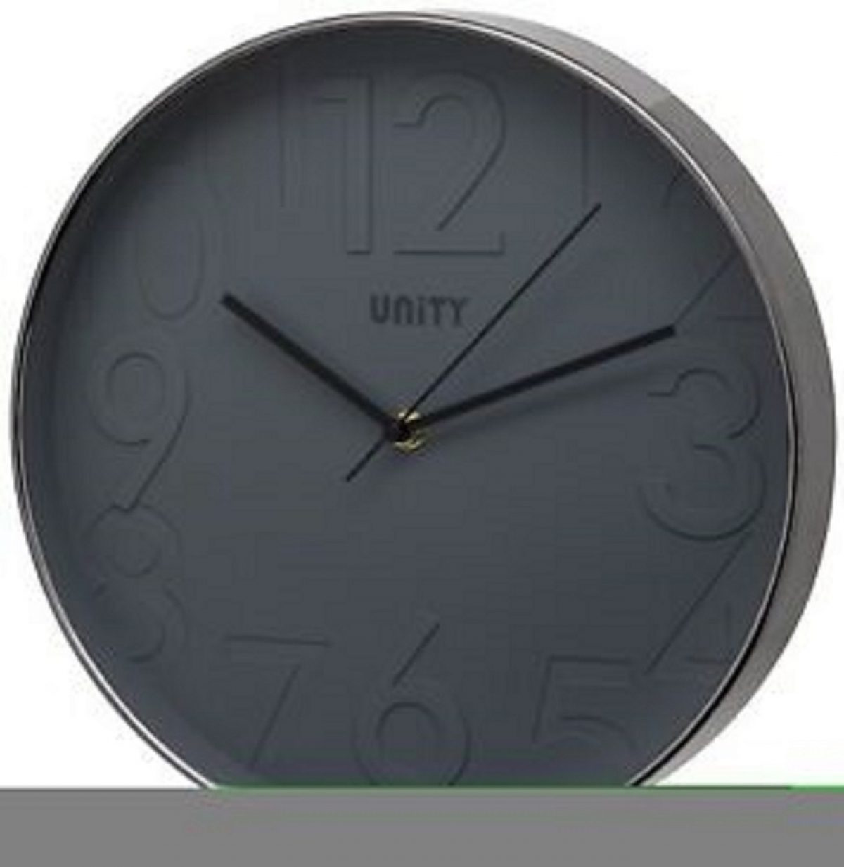 Unity Clifton Contemporary Silent Wall Clock - Black