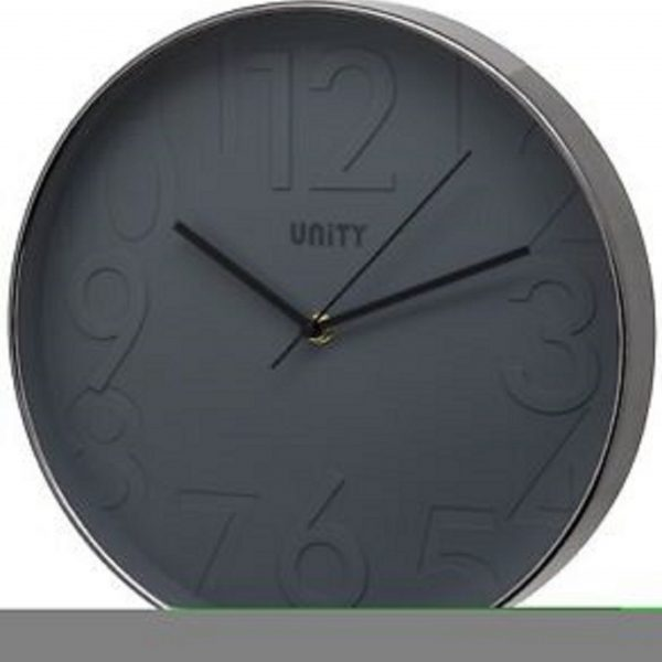 Unity Clifton Contemporary Silent Wall Clock - Black