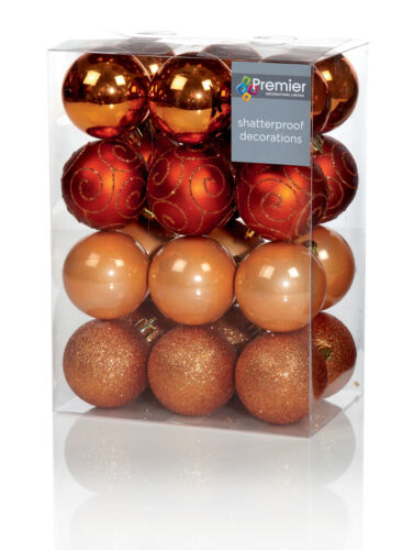 24 x Large Gold Baubles 6cm Christmas Tree Decorations Glitter Matte /& Shiny