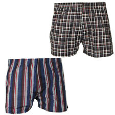 Tom Franks 2 Pack of Mens 100 Cotton Woven Blue Check Boxer Shorts Size Large