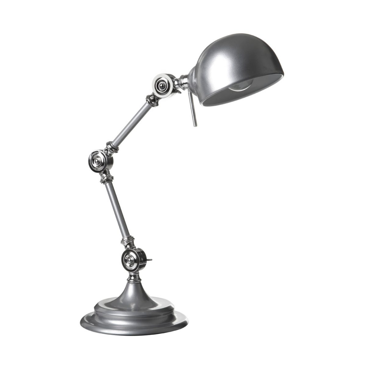 Library Adjustable Table Study Desk Lamp Metal Silver Office Reading Light