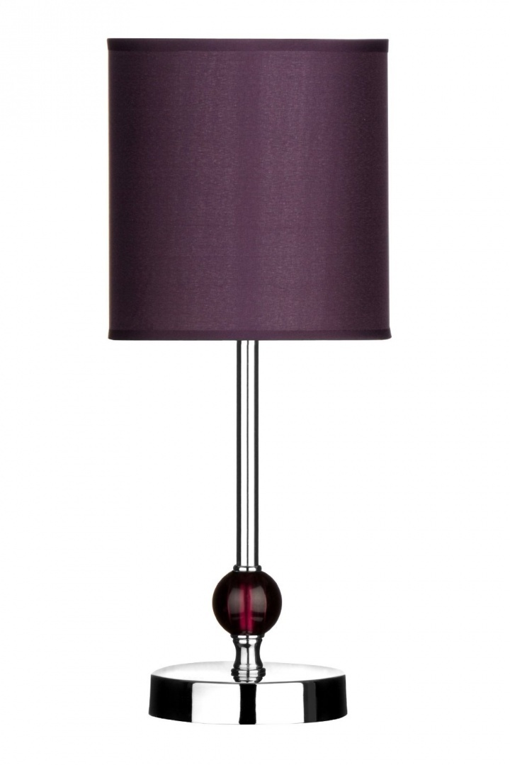 Leez Premier Housewares Chrome Stem Table Lamp With Acrylic Ball And Fabric Shade