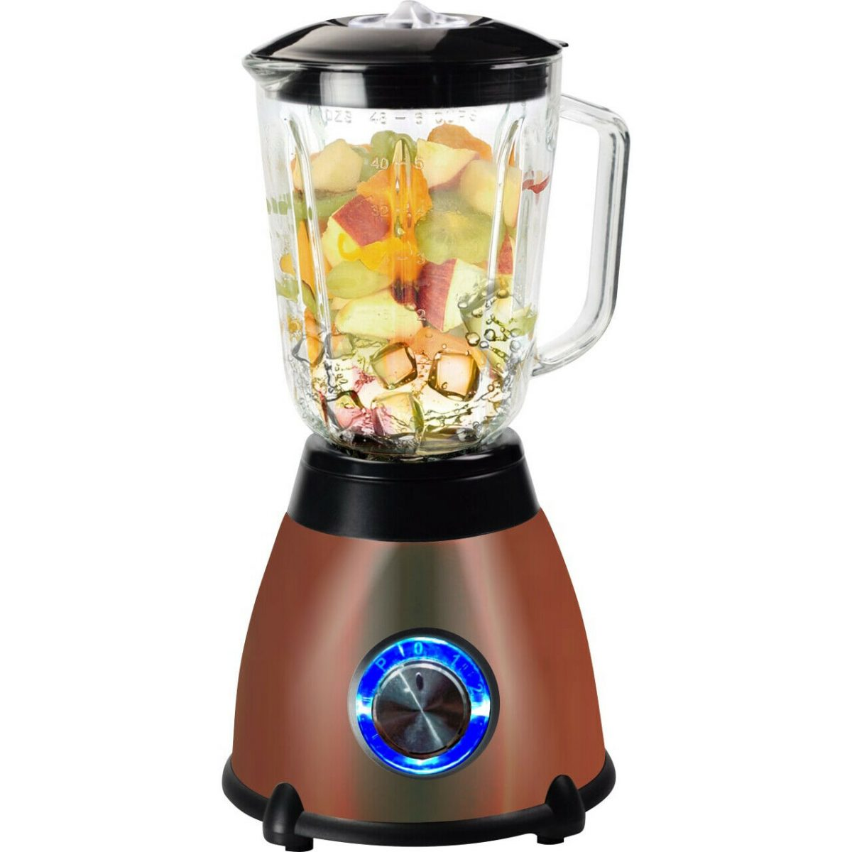 Kitchen Genie Glass Table Top Blender With Grinder 500W 1.5 Litre Copper